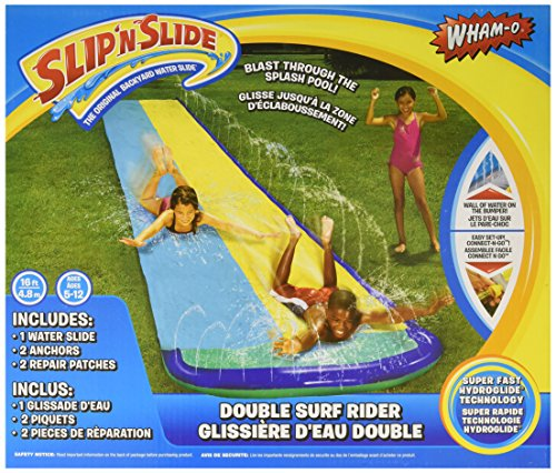 Wham-O 64777 Double Surf Rider Slip N Slide Blast Through Splash Pool Wall of Water on The Bumper, Multi/None, No Size