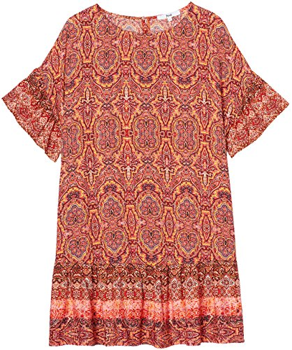 FIND Damen Midikleid mit Boho-Muster Mehrfarbig (Orange Mix)