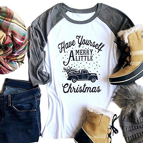 Vin beauty Joyeux Noël Chemises de doublure T shirt Tops grande taille pour femme Blanc gris