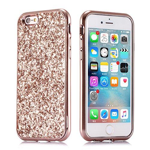 iPhone 6 Plus Hülle Glitzer,BtDuck Hülle Glitzer Rose Gold Bumper Case Slim Überzug Metall Rahmen + PC Hard Case Zwei in einem Stoßfest Kratzfeste Scratch-Resistant Hülle iPhone 6 Plus/6S Plus