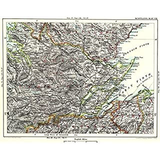 SCOTTISH HIGHLANDS. Ross/Cromarty Moray Firth Inverness Nairn Dingwall - 1893 - old antique vintage map - printed maps of Scotland