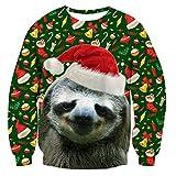 RAISEVERNUnisex Ugly Christmas Sloth Dekoration Print Eye Catching Weihnachten Pullover Pullover Sweatshirt Weihnachten Pullover für Männer