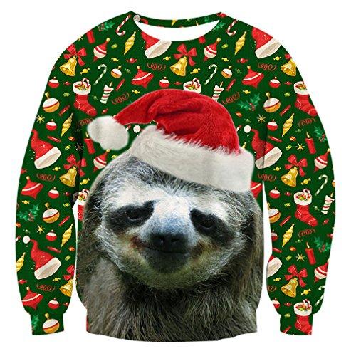 RAISEVERN Unisex hässliche Weihnachts-Faultier-Dekoration-Druck-nettes Weihnachtsüberzieher-Strickjacken-Sweatshirt für Frauen-Männer (Hässlich Weihnachten Pullover Dekorationen)