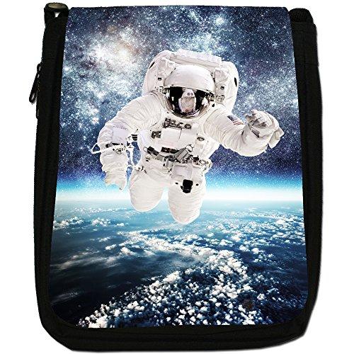 Esplorazione Spaziale Medium Nero Borsa In Tela, taglia M Astronaut In Outer Space
