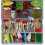 BlueNet 129pcs señuelo de pesca Set, incluyendo rana señuelos, señuelos de cuchara, señuelos de plástico blandos, Popper, manivela, Rattlin y más