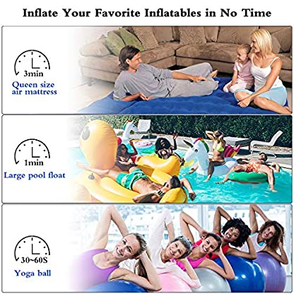 Joycoo air pump electric pump electric air pump quick Inflator deflator 3 nozzles for air mattress air bed paddling pool swimming ring camping Inflatables 4