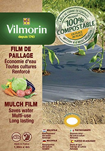 Vilmorin VH01011 Film de Paillage Toutes Cultures Farine de Céréales Renforcé 35 mm 1,30 x 4 m