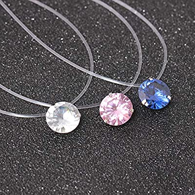 Dorical Necklace for Women Invisible Rhinestones Transparent Fishing Line Chain Pendant Necklaces from Dorical