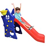 PEAHEN Foldable and Unbreakable Hut Shape Slide for Kids at Home and School with Basket Ball Ring (Multi Color)