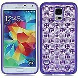 Bling strass kristall diamant Plaid hülle schale abdeckung case cover für Samsung Galaxy S5 SV S V I9600_violett