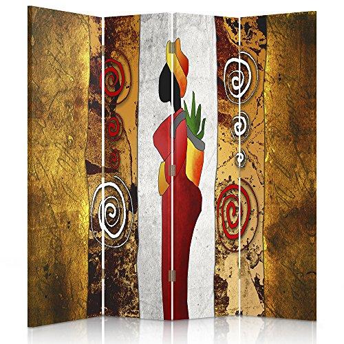 Feeby Frames. Raumteiler, Ggedruckten aufCanvas, Leinwand Wandschirme, dekorative Trennwand, Paravent beidseitig, 4 teilig (145x180 cm), Afrika, Frau, BLUMENTOPF, Blume, Muster,ORANGE, GELB