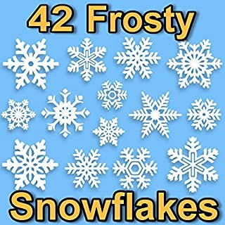 42 Snowflake Window Clings 2D Frosty Design by Articlings - Quick & Simple Christmas Decorations - Glueless PVC Stickers