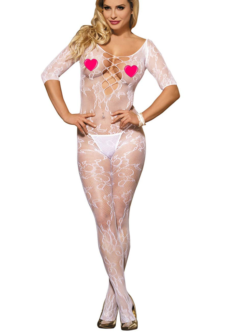 ef8e153649a Marysgift Floral Open Crotch Mesh Net Overall Bodystocking Fishnet Women's  Sexy Lingerie Catsuit 40 42 44 46 48 50