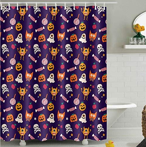 Chenghao's shop Duschvorhänge Apple Scary Pumpkin Candy Katze Halloween Wasserdicht Polyester Bad Vorhangstoff Für Badewanne Wohnkultur 200 (B) X 200 (H) cm (Candy Halloween Shop)
