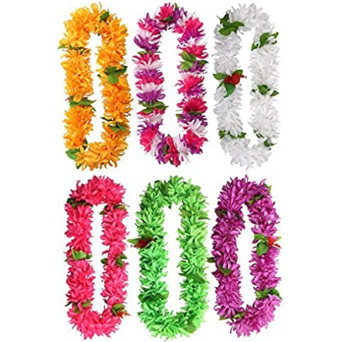 KUMEED 41 Tropical Hawaiian Luau Lei Assorted Color Party Favors Pack of 6 by KUMEED