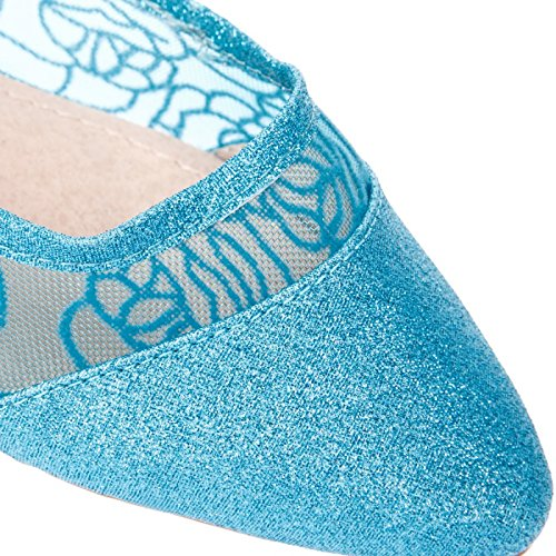 La Modeuse - Ballerines pointues bi-matière : paillettes et tulle avec broderies Bleu