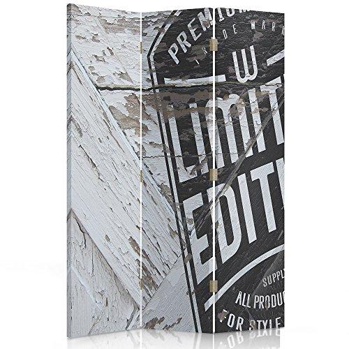 Feeby Frames. Raumteiler, Ggedruckten aufCanvas, Leinwand Wandschirme, dekorative Trennwand, Paravent einseitig, 3 teilig (110x180 cm), Shabby CHIC, Limited Edition, Holz, WEIß