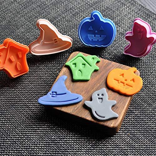 Ambility Halloween 4Pcs Halloween Kürbis Plunger Schokolade Kuchen Cookie Fondant Mould Cutter (Plunger Cutters Halloween-fondant)