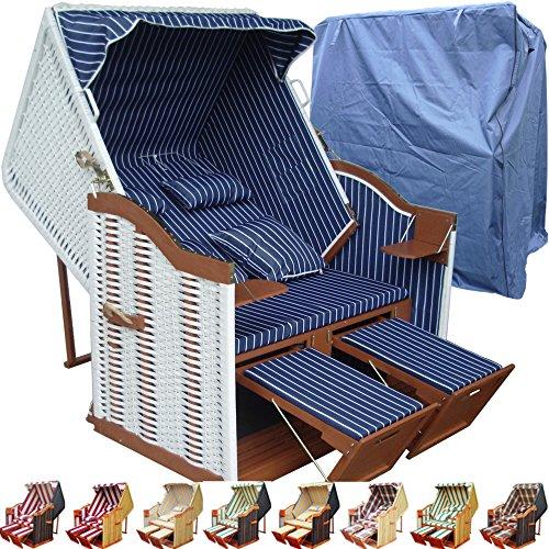 XINRO® Strandkorb weiß blau günstig für Balkon inkl. Luxus Strandkorb Hülle - blau mit weißem Polyrattan und braunem Holz, Form Ostsee Strandkorb