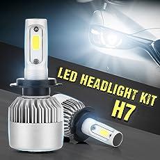 Ocamo Pack of 2 COB LED Auto Car Headlight, 40W 10000LM All In One Car LED Headlights Bulb Fog Light, White 6000K Head Lamp H7