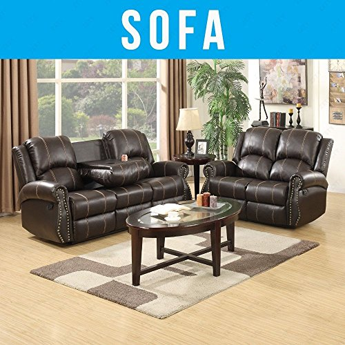 Uenjoy Sofas 3 Seater And 2 Seater Leather Recliner Sofa Suite Brown