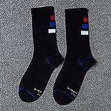 ZXXFR Bandes Tricolores Vérins Moyen Haut Bas Étudiant Pur Coton Sport Socks Skateboard Code Uniforme 5 Paires,Un