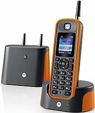 """Motorola O211 schnurloses Festnetztelefon """"O211"""" dunkel grau / orange"""