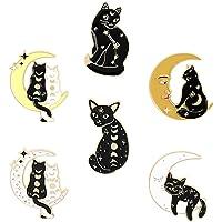 Amosfun - Set di 6 spille smaltate in stile gotico con gatto e luna, spilla per colletto, spilla per il collo, per fai…
