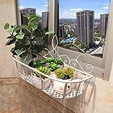 FZN Eisen balkongeländer hängen blumentopf rack innen wohnzimmer wandbehang blume rack Topf-Untersetzer (Farbe : Weiß, größe : 45*15*22cm)