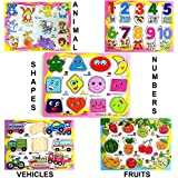 FunBlast® (Set Of 5 Puzzle Board) Wooden Colorful Learning Educational Board For Kids Set Of 5 Puzzle Board Includes Fruits, Numbers, Shapes And Symbols, Animals, Vehicles