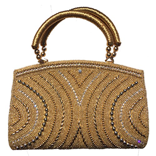 Clapcart Women's Clutch Handbag with Patterned Rhinestone Glitters and Diamonds with Smooth Inner Velvet and Magnet Closure (Clapcart-hb-014, Golden)