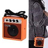 ammoon Amplificador para Guitarra Acústica / Eléctrica Ukulele Mini 5 Vatios 9V Pilas Alta Sensibilidad con Volume Tone Control (Naranja)