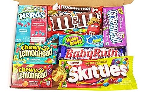 Mini boîte American Candy   Sélection coffret bonbons confiseries et chocolats   Assortiment inclut Chupa Chups, Reeses, Skittles, Nerds, M&M's   Coffret cadeau vintage de 11 pièces