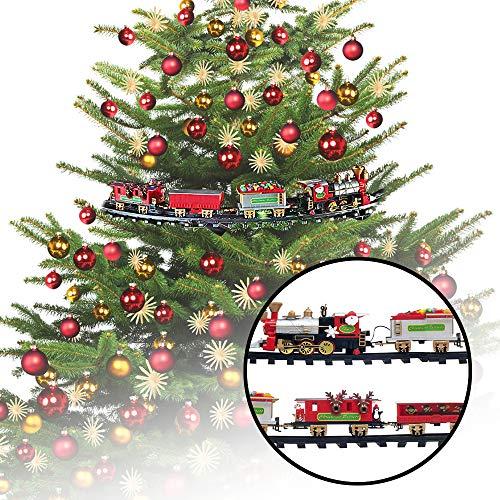 MonsterCadeaux - Mini Train électrique pour Le Sapin de Noël - Décoration de Noël Originale - Jouet Classique comme décoration de Sapin de Noël - Cadeau pour Homme, Femme et Enfant - 36 x 43 x 8 cm