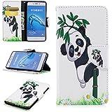 """Coque Etui pour Honor 6C, Honor 6C PU Cuir Etui, Huawei Honor 6C Coque de Protection en Cuir Folio Housse, Huawei Honor 6C Leather Case Wallet Flip Protective Cover Protector, Cozy hut Etui de Protection PU Cuir Portefeuille Beau Motif Coque Housse wallet Case Cover Coquille Couverture avec Fonction Stand et Fentes de Carte de Crédit pour Huawei Honor 6C 5.0"""" Pouces - Bamboo Panda"""