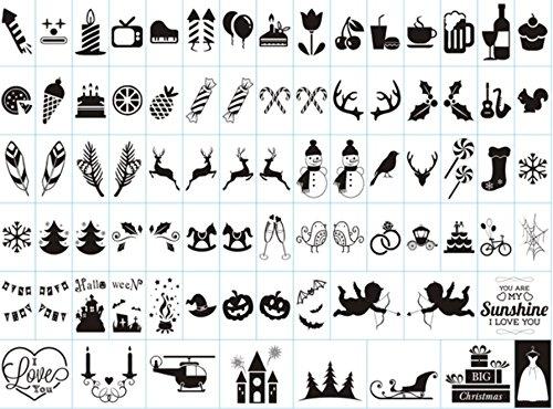 80 Symbol (Ai-life 80 Stück DIY Dekorativ Schwarze Symbole und Zeichen Einschubplättchen Set für A4 LED Lichtbox, LED Lightbox Leuchtkasten Erweiterung Ergänzungsset Celebrations, Festspiel Sammlung)