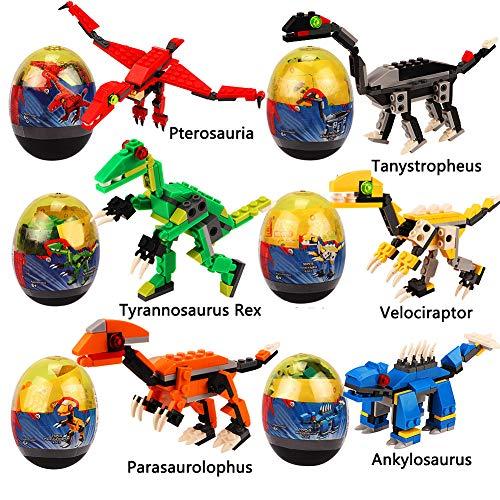 VAMEI Dinosaurier SpielzeugEi Bausteine Spielzeug 6 stücke Mini Bausteine Miniatur Action-Figuren für Kinder Puzzle Pädagogisches