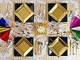 [Pack ahorro] Kit de vajilla desechable elegante con decoración - Color negro y dorado - Incluye platos, cubiertos, copas, decoración, cotillón, serpentinas, gorritos y servilletas - 12 personas