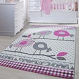 Carpetsale24 Kinder Teppiche für Kinderzimmer, Babyzimmer, Spielteppich süße Vogel design, Multi Farben Grau Pink Weiss_0520, Maße:120x170 cm