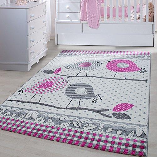 Kinder Teppiche für Kinderzimmer, Babyzimmer, Spielteppich süße Vogel design , Multi Farben Grau Pink Weiss_0520, Maße:80x150 cm