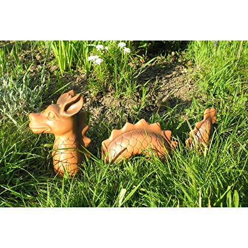 3-tlg. lustiger Deko Drachen Lindwurm 46x9x20cm Garten Figur Polystone Fantasy - 2