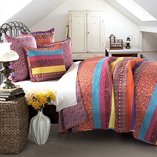 Lush Decor Boho Stripe 3-Piece Bettwäsche-Set, Fuchsia, King Size