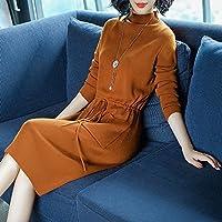 HYW Vestido de Modelos Femeninos Vestido de Falda de Manga Larga de Cintura de Temperamento Delgado en la Sección Larga,UN,XXXL