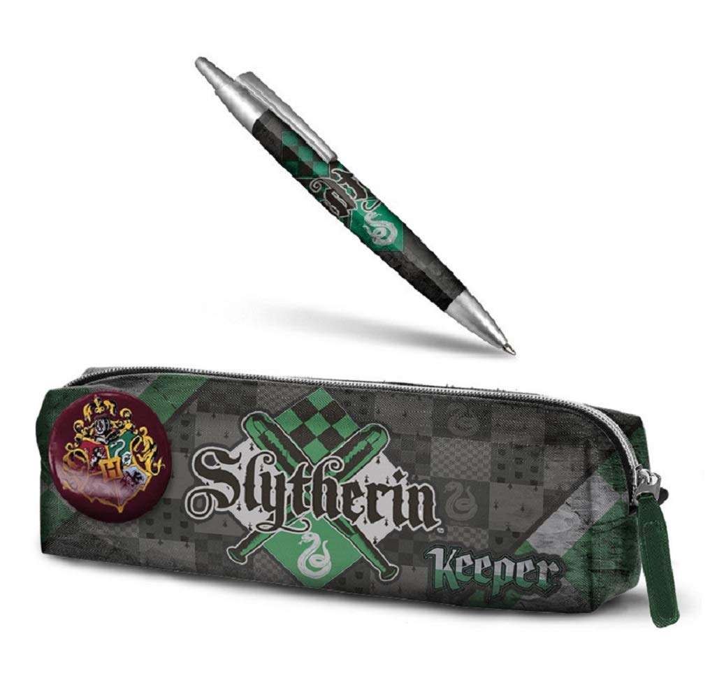 Estuche para lápices de Harry Potter – Slytherin + Pluma de Harry Potter