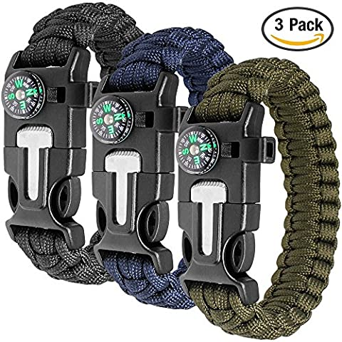 Paracord Bracelet Kit lot de 3 pour la survie en