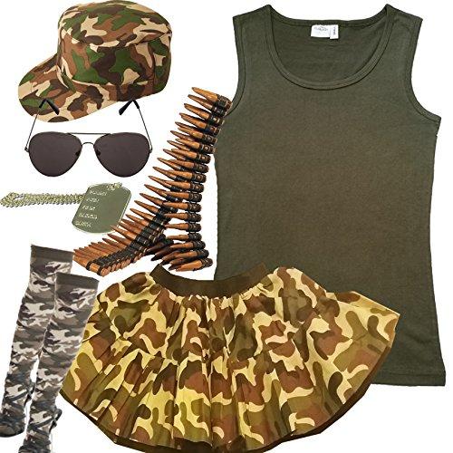 Damen-Armee 7-teiliges Set. Military Kostüm Outfit (34-36) (Camouflage Kostüm)