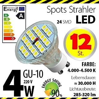 12-er Pack ALMIPEX GU10 LED Lampe 4W (320lm - 4500 K - Weiß - 24 x 5050 SMD LED - 120º Abstrahlwinkel - GU10 Sockel - 230V AC - 4 Watt - Ø 50×54 mm)