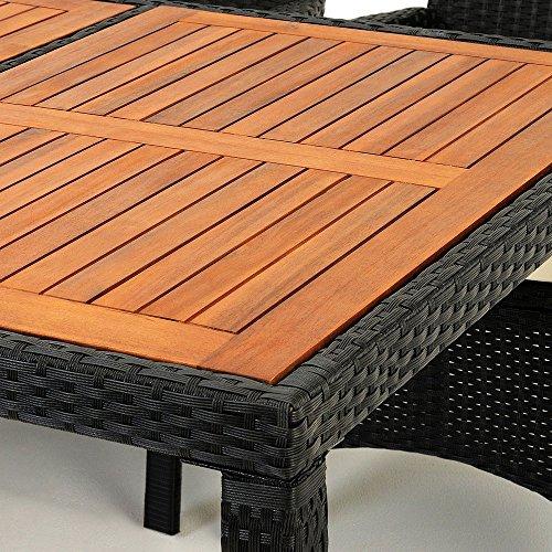 Polyrattan Sitzgruppe 8+1 Tisch aus Akazienholz Gartenmöbel Lounge Gartenset Sitzgarnitur Rattan - 3