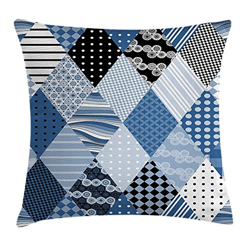FAFANI Farmhouse Decor Throw Pillow Cushion Cover, Geometric Diamond Shaped Lines with Various Nostalgic Fashioned Old Pattern, Decorative Square Accent Pillow Case, 18 X 18 Inches, Blue Black Square Double Old Fashioned