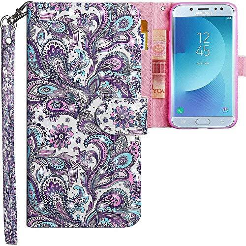 CLM-Tech kompatibel mit Samsung Galaxy J5 2017 Hülle, Tasche aus Kunstleder, Blume Ornament lila blau, PU Leder-Tasche für Galaxy J5 2017 Lederhülle